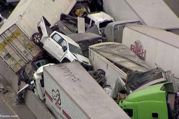 (ویدئو) تصادف زنجیره ای در تگزاس